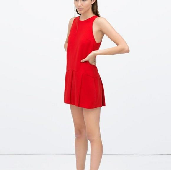 5748064ab17 Zara red pleated skort jumpsuit. M 5aad86ad00450fb36dc3af8f